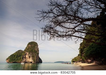 Big Cliff In Azure Sea Water
