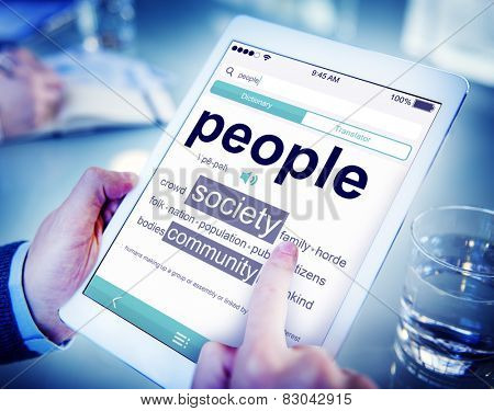 Digital Online Dictionary People Society Office Working Concept