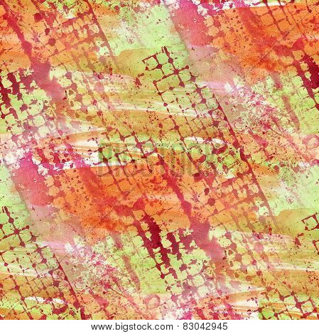vintage red, yellow pattern design seamless watercolor texture b
