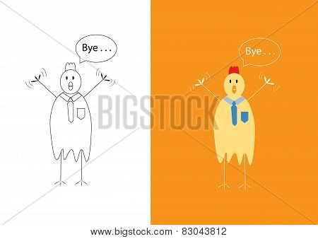 Chicken Businessman Saying Goodbye