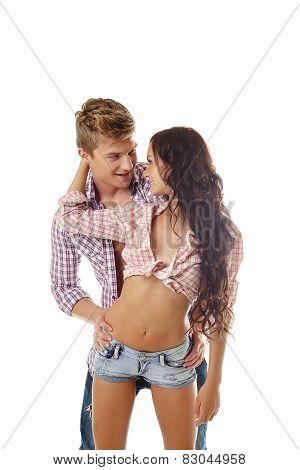 Studio photo of handsome loving couple