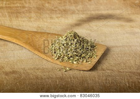 Oregano In A Wooden Spoon