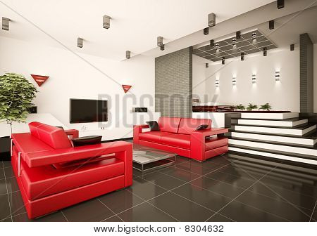 Living Room And Bedroom Interior 3D