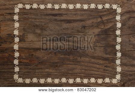 Ornate boarder frame wood background old