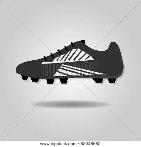 Abstract soccer shoe icon with dropped shadow