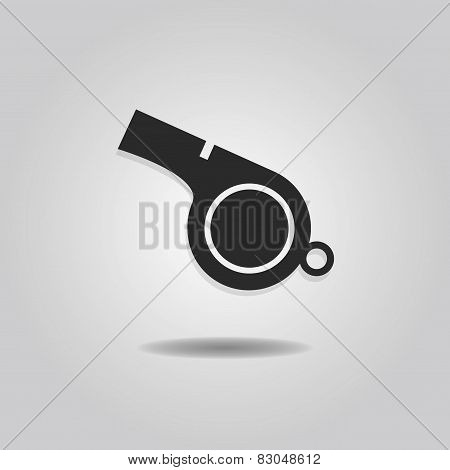 Abstract blowing whistle icon with dropped shadow