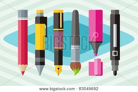 Big set engineering office pens and pencils