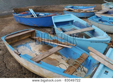 Small blue boats in El Cotillo