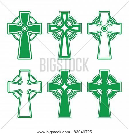 Irish, Scottish Celtic green cross on white - vector