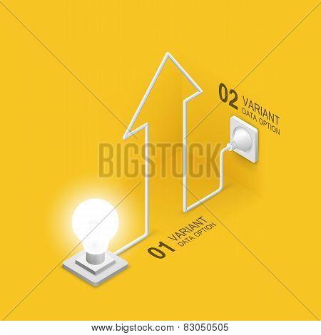 Lamp plugged in arrow
