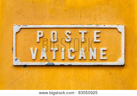 Vatican Post Box Yellow Sign.