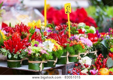 Close Up Of Rows With Flowers At Flowers Market.