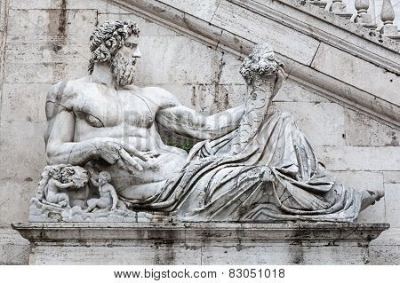Detail Of Facade Of Palazzo Senatorio On The Capitol Hill, Rome, Italy.