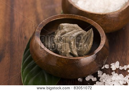 Dead Sea Mud And Salt In A Bowl