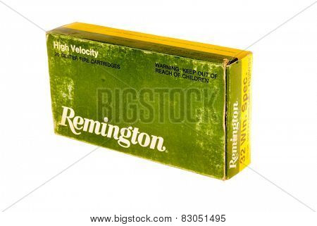 Hayward, CA - February 10, 2015: old box of Remington 32 Winchester Special caliber ammunition isolated on white