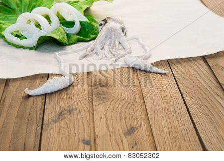 Fresh squid on wooden table