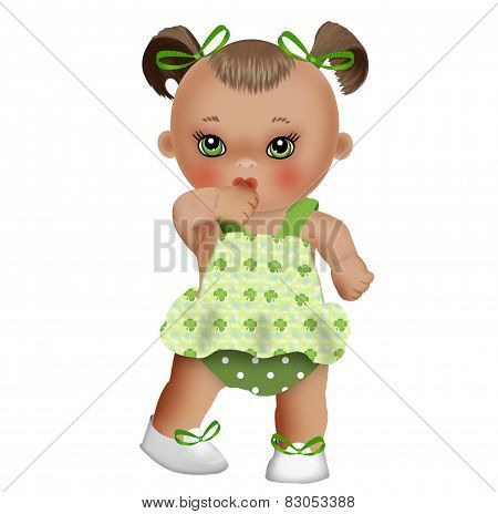 Baby doll in a green sundress
