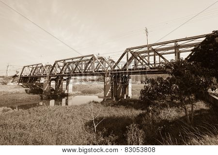 Train Bridge Structure Sepia