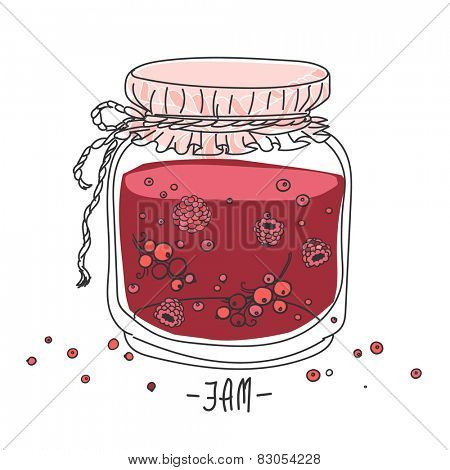 Vector image of glass jar with jam