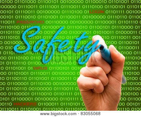 Safety Password Login Virus Hackers Hand Binary Text