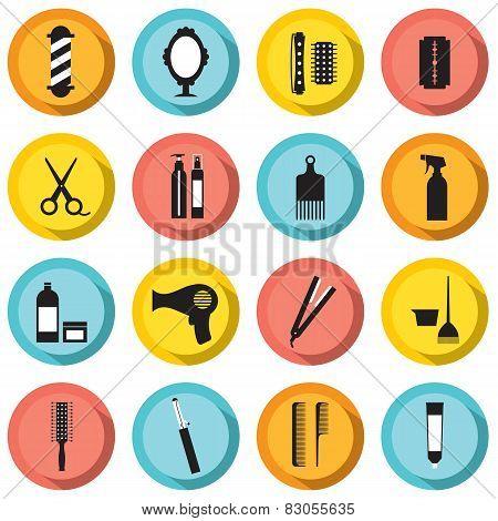 Hairdressing Icons Set.