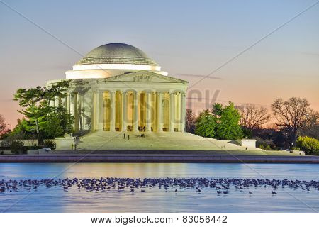 Washington DC - Thomas Jefferson Memorial and seagulls on frosted lake at night - United States of America