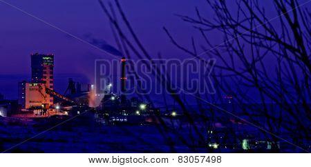 Vorkuta in winter. Vorkutinskaya mine.