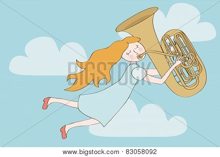 Happy Redhead Girl Flying In The Sky And Playing Tuba.