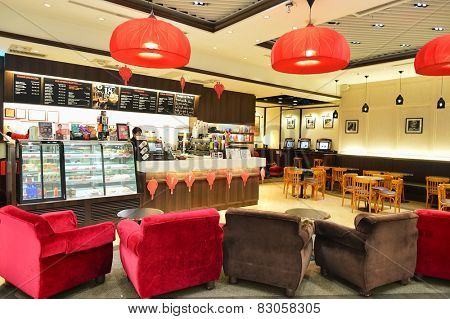 HONG KONG - FEBRUARY 04, 2015: Pacific Coffee cafe in Hong Kong airport. Pacific Coffee Company is a Pacific Northwest U.S.-style coffee shop group originating from Hong Kong.
