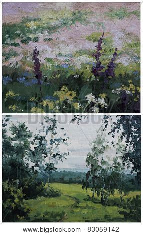 Sketches Summer Cloudy Landscape