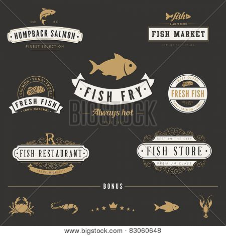 Fish Seafood Retro Vintage Labels Logo design vector typography lettering templates.  Old style elements, business signs, logos, label, badges, stamps and symbols.