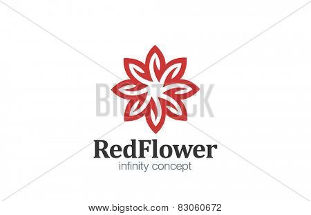 Logo Flower abstract infinity loop design vector template. Star Logotype infinite looped shape concept icon.