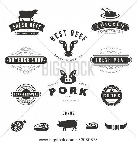 Grill BBQ Cow PIG Retro Vintage Labels Logo design vector typography lettering templates.  Old style elements, business signs, logos, label, badges, stamps and symbols. Restaurant, butchery theme.