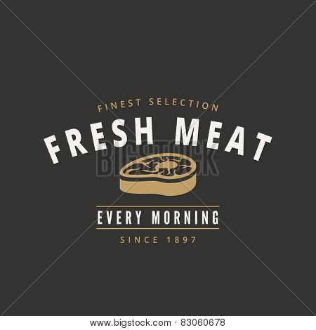 Grill BBQ Steak Retro Vintage Label Logo design vector typography lettering template.  Old style label, badge, stamp. Restaurant, butchery logotype theme.