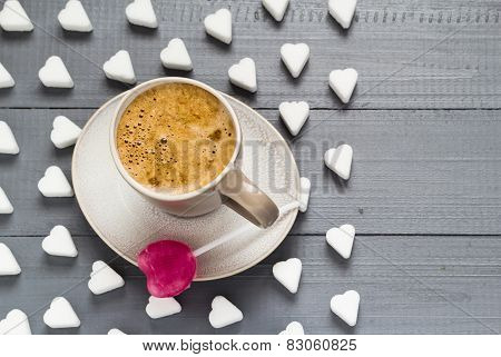 Cup Coffee Sweets Heart Shaped Lollipop Sugar Cubes