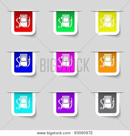 Gas Fuel Station Sign Icon. Symbol. Set Of Colored Buttons. Vector