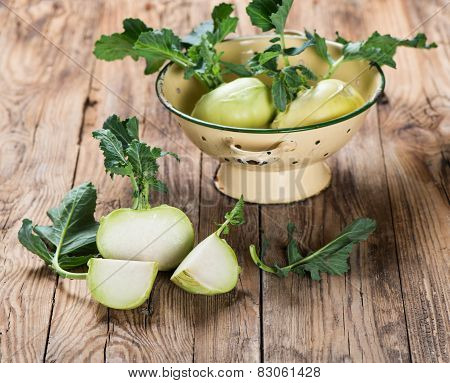 Kohlrabi On Wooden Board