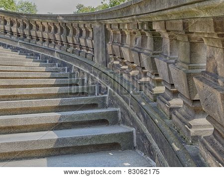 vintage curved outdoor stairs, Dresden, Germany