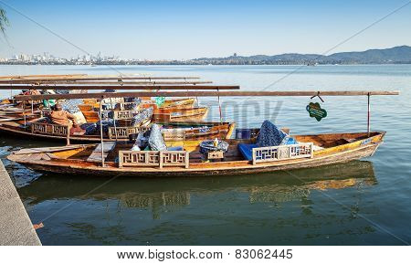 Chinese Wooden Boats Floats Moored On The West Lake