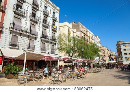 Street View With Tourists In The Restaurant, Tarragona, Spain