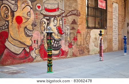 Street View With Colorful Graffiti, Tarragona, Spain
