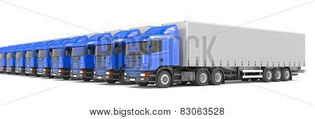 Blue Cargo Trucks Parked In A Row