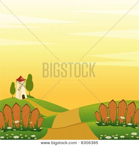 vector illustration of landscape windmill building with fence