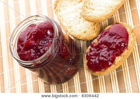 Breakfast Of Cherry Jam On Toast
