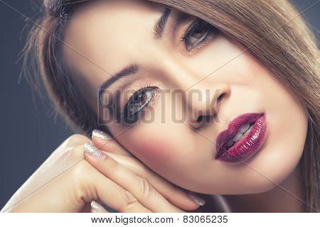 Beautiful Thai Woman With Makeup And Nails Done