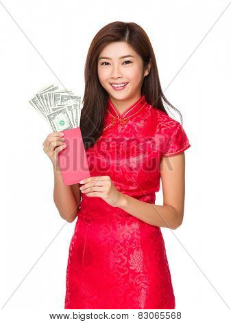 Chinese woman hold red pocket money with USD