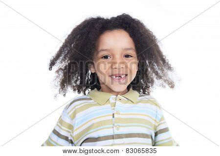 Adorable africanboy with beautiful hairstyle isolated over white