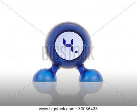Small Blue Plastic Object With A Digital Display