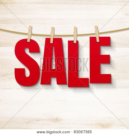 Sale Poster And Wooden Texture, Vector Illustration