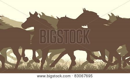 Horizontal Vector Illustration Silhouette Herd Of Horses.